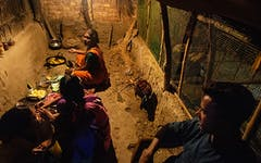 Indian family cooking in a dirt floor hut with animals.