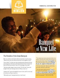 Cover of the Summer-Fall 2020 Newsletter - Group celebrating with candles in a dark room.